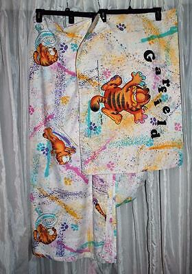 Garfield Paint Fun Full Bed Sheet Set Flat Fitted & 2 Pillow Cases Vintage 1978