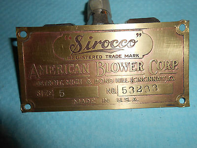 "Vintage ""SIROCCO"" AMERICAN BLOWER CORP BRASS NAME PLATE 1940s"
