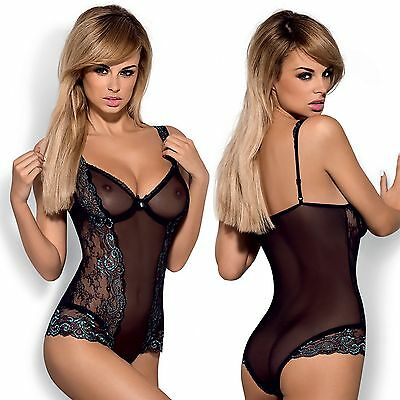 Damen Spitzenbody Stringbody Transparent Dessous Reizwäsche Body Schwarz S-XL OE