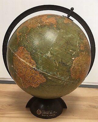 "Vtg 12"" Standard Globe by Replogle Globes Chicago Ill.  Derby Oil Co. Art Deco"