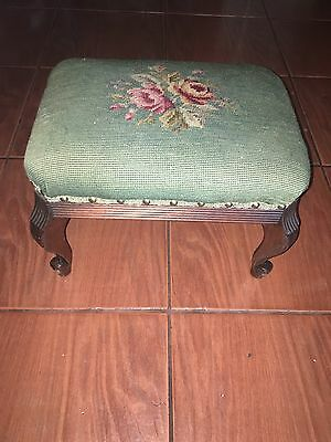 antique foot outtaman hand embroidered beautiful flower �� Fluted wood ball foot