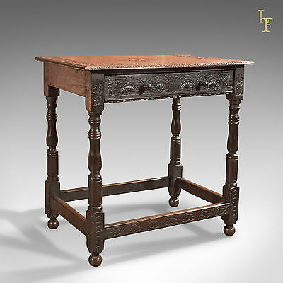 Antique Hall Table, Georgian, Carved Oak, English, Side, Lamp, c.1800