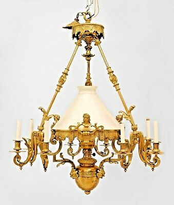 French Victorian Bronze 9 Light Converted Gas Chandelier