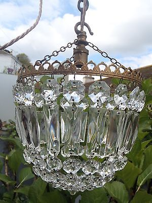 Rewired as a Pendant, Crystal Bag light Chandelier H11'' x W8''