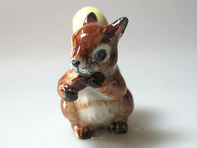 Hand Painted Miniature Collectible Ceramic Brown Squirrel Figurine