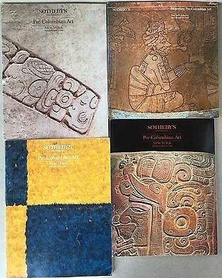 4 Sotheby's Pre-Columbian Art Sales Catalogs 1980s with results page, lot of 4