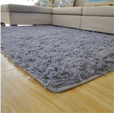 "4ft x 5ft 3"" (120x160cm)  GRAY Soft Fluffy Rugs Anti-Skid Shaggy Area Rug Carpet"