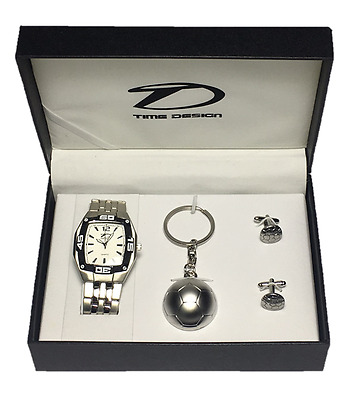 Time Design Men's Gent Quartz Square Watch Football Keyring & Cufflinks Gift Set
