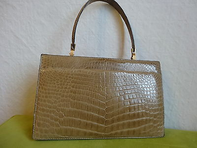 GRAND SAC CROCO BEIGE VERITABLE VINTAGE 29 x 19 cm BON ETAT