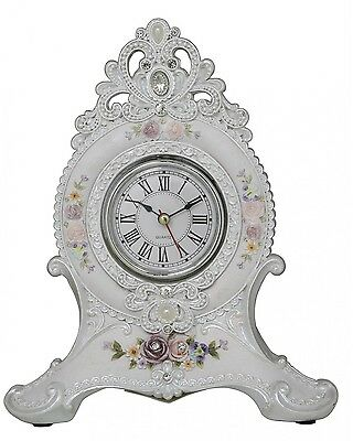 Beauiful White And Floral Luxe Table Mantel Clock with Diamantes
