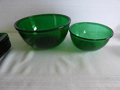 Anchor Hocking forest green 2 mixing bowl's nice cond.