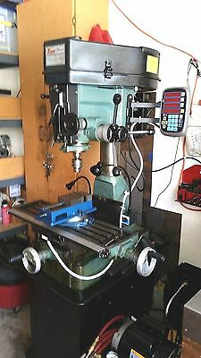 """Enco Heavy Duty Mill Drill Machine with Stand, 3 Axis DRO, Magnum 6"""" Mill Vise"""