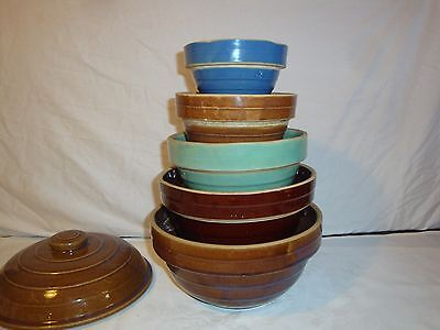 "Usa Pottery Ringware Bee Hive Mixing Nesting Bowls Set Of 5 With Lid 9""8""7""6""5"""