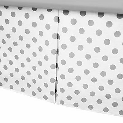 American Baby 100% Cotton Tailored Crib Skirt with Pleat White with Gray Dot
