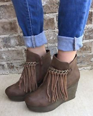 dc4ddb45f61 NIB SBICCA ZEPP Brown FRINGE Wedge Ankle Booties Boots Womens 8 M ...