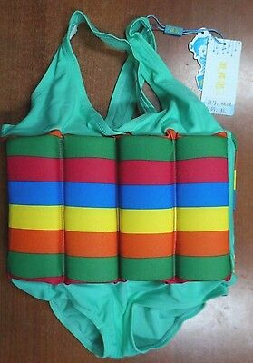 Float Suit Kids Child Toddler Swimsuit Swimwear Costume Teal Rainbow (B580)