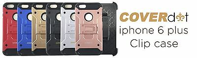 CoverDat Armor Case + Clip Holster +1 Tempered Glass Screen For iPhone 6 6S Plus