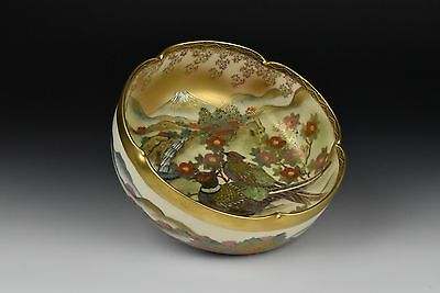 Beautiful Signed Japanese Satsuma Pottery Bowl with Scenic View