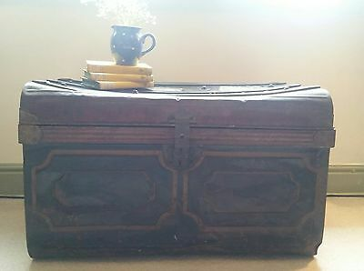 VINTAGE Antique Salvaged Metal Tin Trunk/ Case- Storage- Prop- Coffee Table