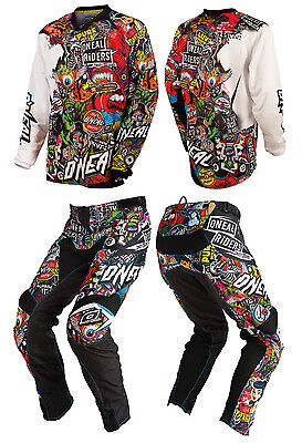 2016 O'Neal Mayhem Crank Motocross Dirt Bike MX MTB Jersey AND Pants Combo NEW +