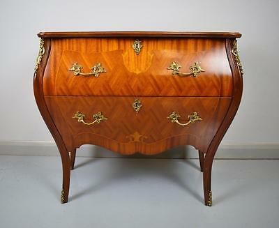 French Antique Louis Style Two Drawer Mahogany Bombe Commode Chest Ormolou