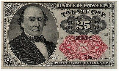 25 Cents 1874 Series Fractional Currency Red Seal CU Fr 1309 - #007