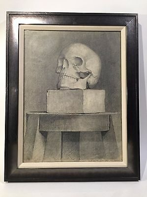 RARE Antique 19th C. Skull Russian Memento Mori Original Vanitas Pencil Drawing