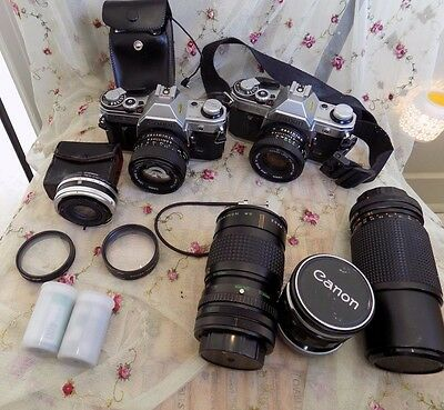 Lot of Canon AE-1 Film Cameras and Lens W/ Accessories