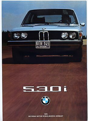 BMW 530i 1976 US-model brochure Prospekt