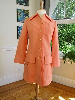 RARE! Vintage 60's Mod Fitted  Trench Coat by Fleet Street Rain Shine Womens (S)