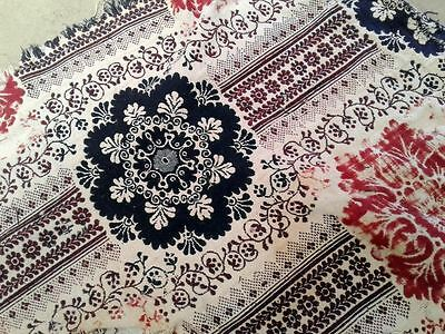 """Antique Woven Reversible Coverlet Red Blue Cream Cutter 82"""" by 36"""" Strip"""