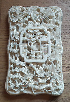 Exquisite 19Th Century Chinese Carved Card Case - Bovine - Flowers & Figures