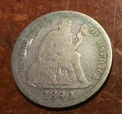 1890s Seated Liberty Dime Nice VG Coin, Better Date!