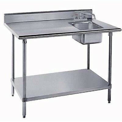 24x48 All Stainless Steel Work Table with Prep Sink on Right