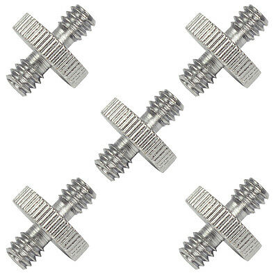 """5PCS 1/4"""" Male to 1/4"""" Male Threaded Screw Adapter Convert for Camera Gopro SLR"""