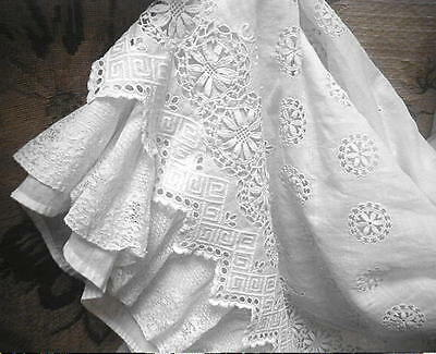 Antique 1912 Titanic Era White Lace Petticoat w Broderie Anglaise Embroidery