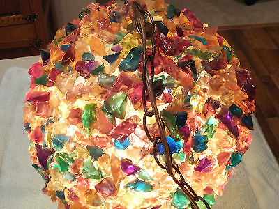 Large Vintage RETRO Chunky Lucite Rock Candy Swag Hanging Light Lamp