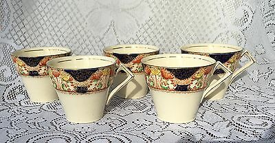"5 Myott Son & Co ""Rosemary"" & ""Corona""  Cups - Cobalt Blue/Gold/Orange  (690)"