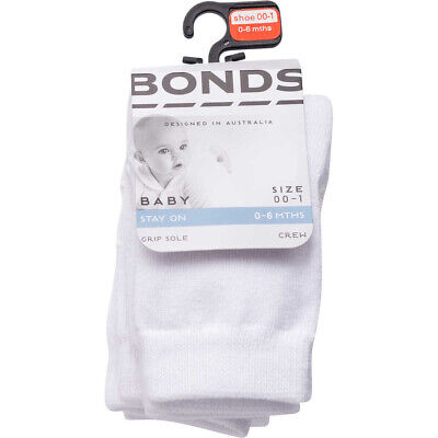 4 PAIRS x NEW Bonds BABY CREW SOCKS COTTON RICH White Grip Sole Kids Toddler