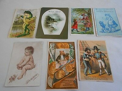 Victorian Trading Cards, Lot of 7, Soap, Scourene, Higgins' German Laundry, +++