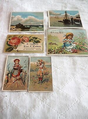 Lot of 6 Coffee & Tea Victorian Trade Cards, Union Pacific, Longman's, Boos
