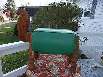 Vintage Camel Foot Stool Ottoman Wood And Leather