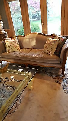 Chippendale-Style Camelback Pair of (2) Sofas w/ Oak Base, Trim and Legs