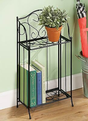 2 Tier Metal Plant & Storage Stand Indoor Planter Holder Flower Pot Shelf Decor
