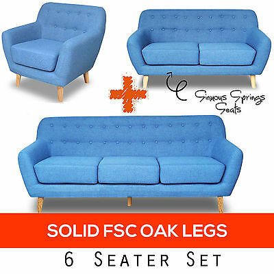 Modern 6 Seater Scandinavian Sofa Set Fabric Upholstered Couch Lounge Furniture