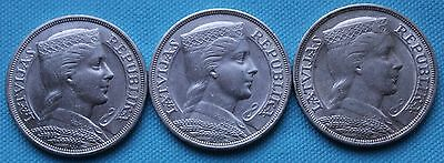 SILVER 5 lati lats LATVIA 1929 1931 1932 old coin Silber Lettland Lettonie