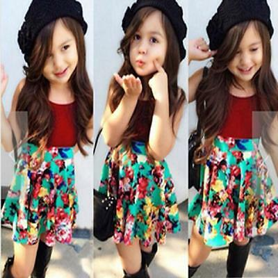 Toddler Baby Kids Girl Outfits Dress Tops T-Shirt+Floral Skirt 2PCS Clothes US