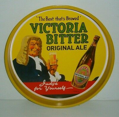 VB Victoria Bitter Beer round metal bar drink bottle can serving table tray