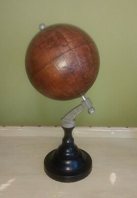 Large Decorative industrial antique style leather wooden metal world globe