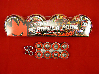 4 x SPITFIRE F4  CONICAL 53mm /101 DURO - SKATE BOARD WHEELS + ABEC 11's